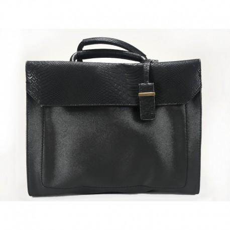 Elegantní kufříková černá kabelka do ruky z ekokůže