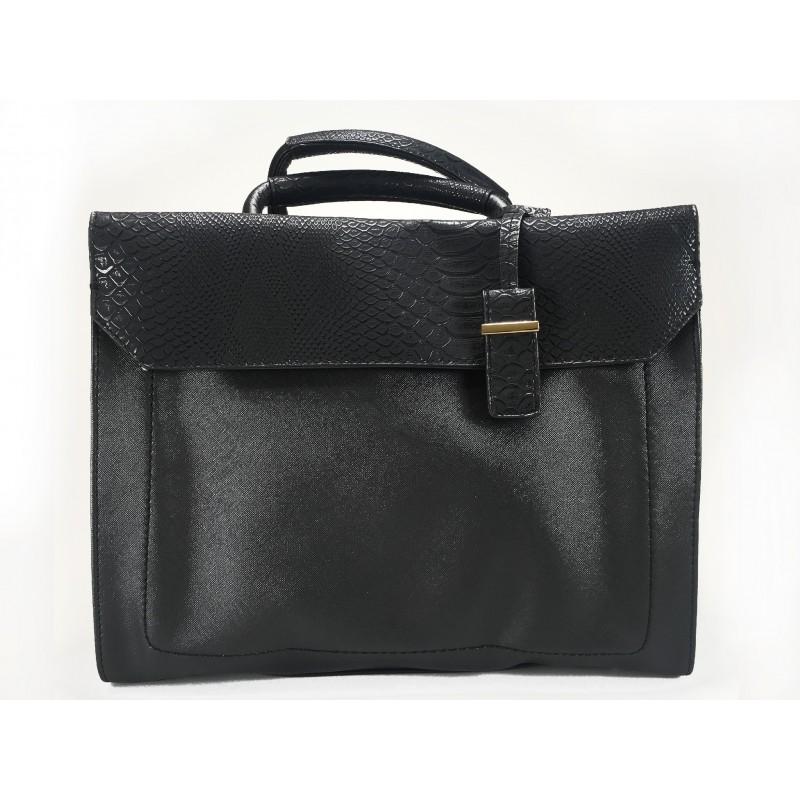 Elegantní kufříková černá kabelka do ruky z ekokůže Adleys