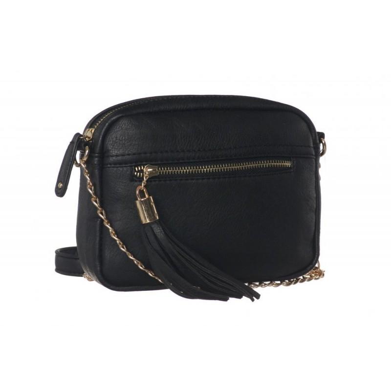 043d30e6fe Černá kabelka crossbody se zlatým zipem a třásňovým zdobením