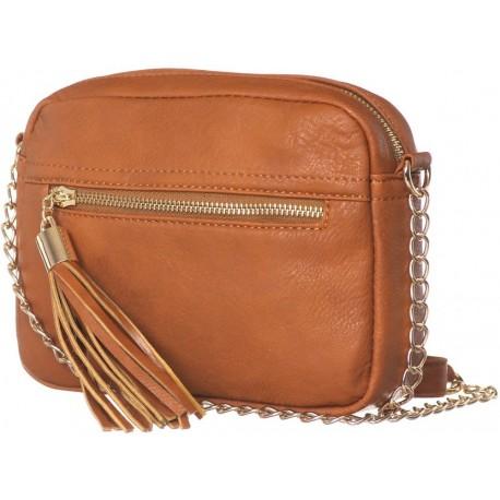 Karamelová kabelka crossbody s třásňovým zdobením