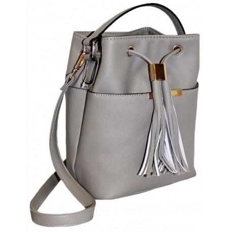 Originální šedá kabelka ve tvaru pytle