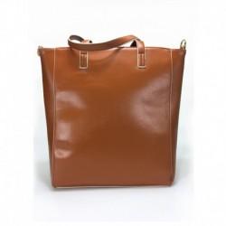 Karamelová větší kabelka přes rameno s béžovým lemem