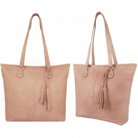 Růžová kabelka na rameno se zdobením