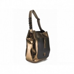 Lesklá trendy kabelka zlatavé barvy s popruhem přes rameno