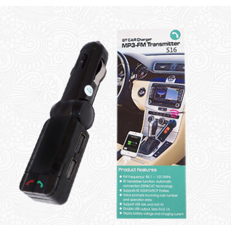 Bluetooth Car Charger, FM/Mp3 Transmitter - S16 - černý