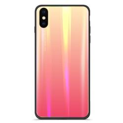 Ochranný kryt Rainbow Aurora Glass pro iPhone X - růžová