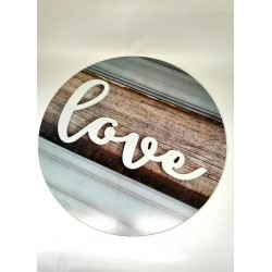 Nástěnná kruhová dekorace Love, o 48 cm